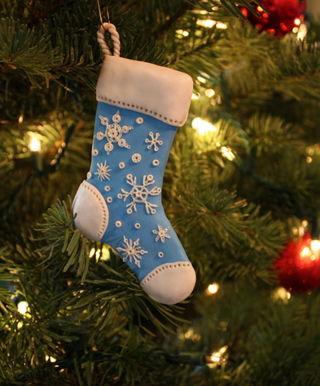 Blue snowflake stocking