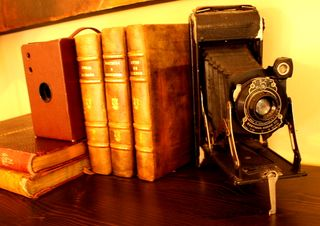 Old camera and books