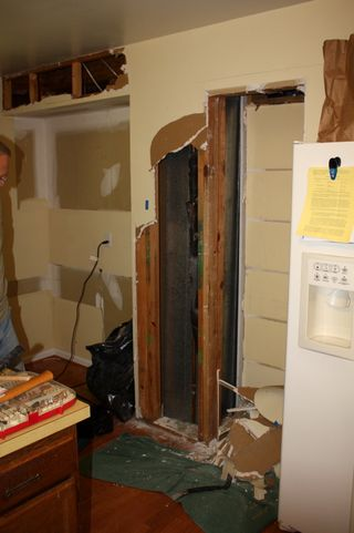 Kitchen pantry area, gutted