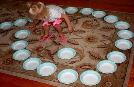 Hazel arranging bowls