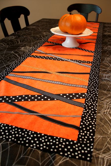 Halloween Table Cloth spiderweb tablecloth runner What Halloween Table Is Complete Without A Runner My Dining Room Table Looked A Little Too Bleak With That Black Tablecloth And I Had All That Ribbon