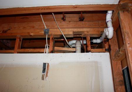Kitchen demo pantry plumbing