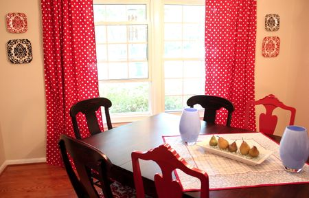 Dining table and drapes
