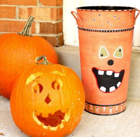 Front door pumpkin faces