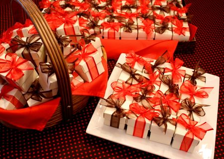Gift boxes in baskets