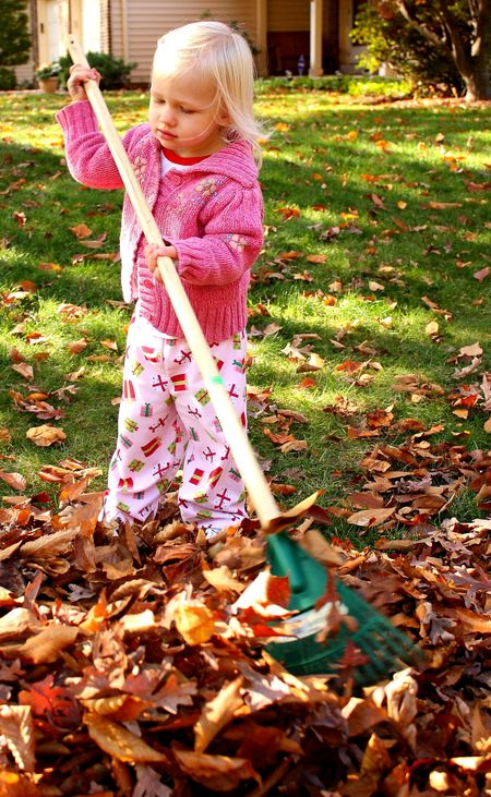 Hazel raking leaves3