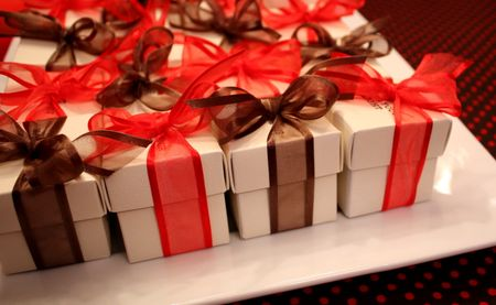 Gift boxes on plate