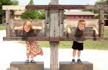 Kids in the stocks