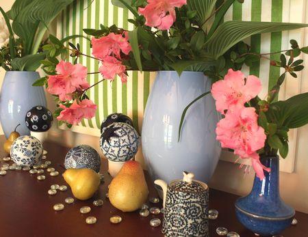Azaleas in vases