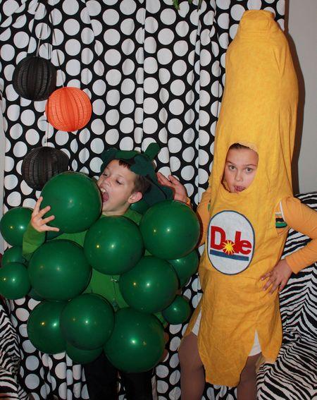Banana and grapes