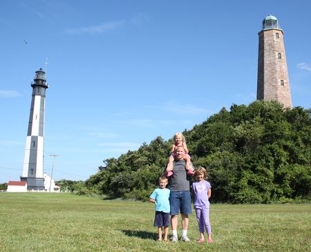 Family at 2 lighthouses, Fort Story