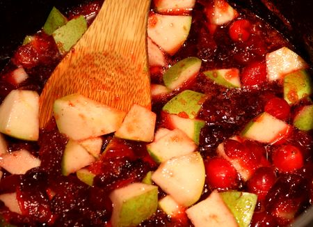 Cranberries with pears
