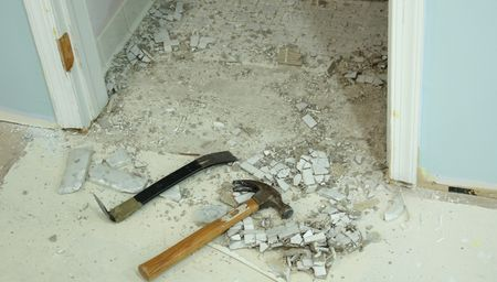 Studio removing tile