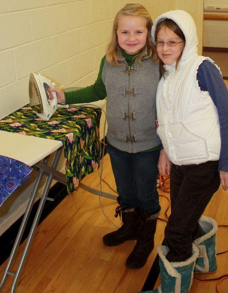 Girls making bags