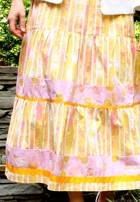 Yellow pink skirt detail