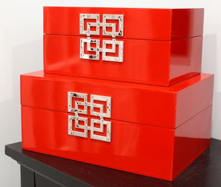 Red lacquer boxes