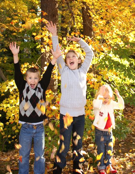 Kids with leaves