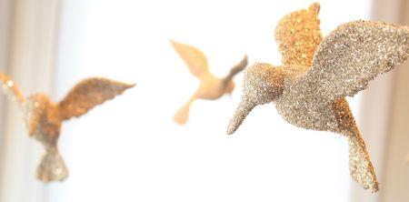 Glass glitter birds