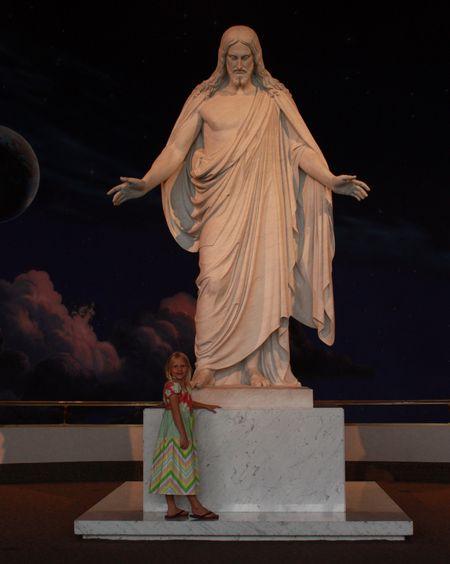 Hazel with Cristus statue