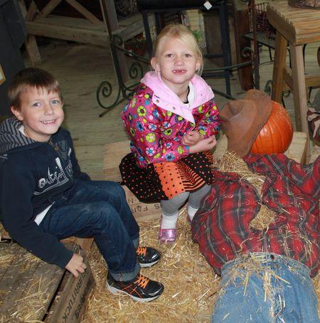 Hazel with scarecrow