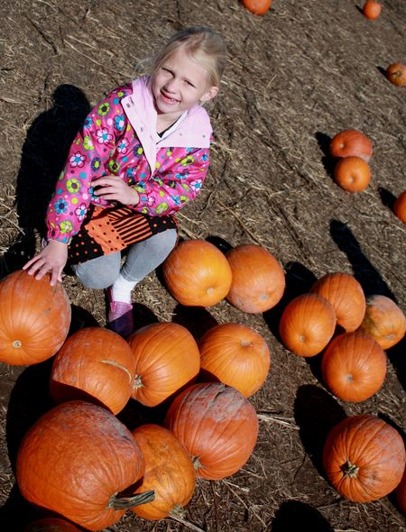 Hazel with pumpkins