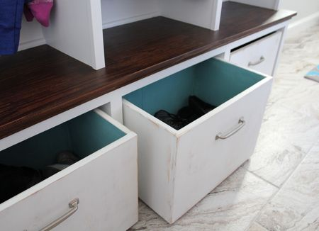 Mud room cubby boxes